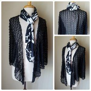 Jackets & Blazers - Women's Sheer Black Shrug Jacket Cardigan + Scarf